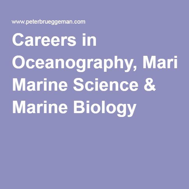 Careers in Oceanography, Marine Science & Marine Biology