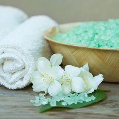 Sels de bain, vert d'eau