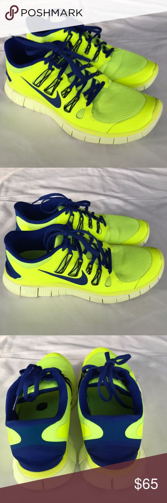 Nike + Free 5.0 Athletic Running Shoe Men Size 12 Nike + Free 5.0 Athletic Running Shoe Men Size 12. Worn once on outdoor trail. The sole shows some wear but rest of the shoe looks like new. Neon yellow with royal blue and black accents. Nike Shoes Athlet