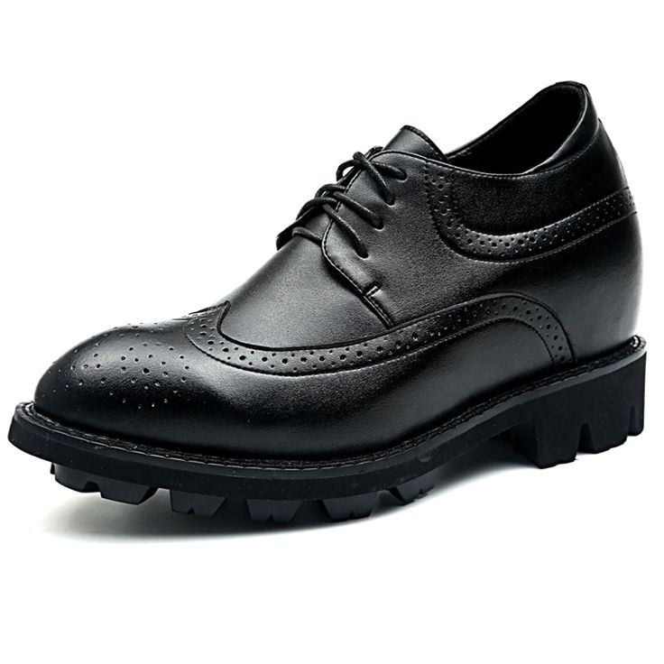 TopoutShoes - Wing tip height taller brogue shoes 4.7inch / 12cm