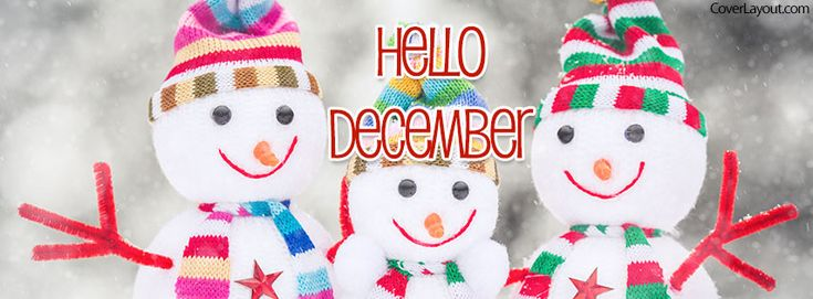 Snowman Family Hello December Facebook Cover coverlayout.com