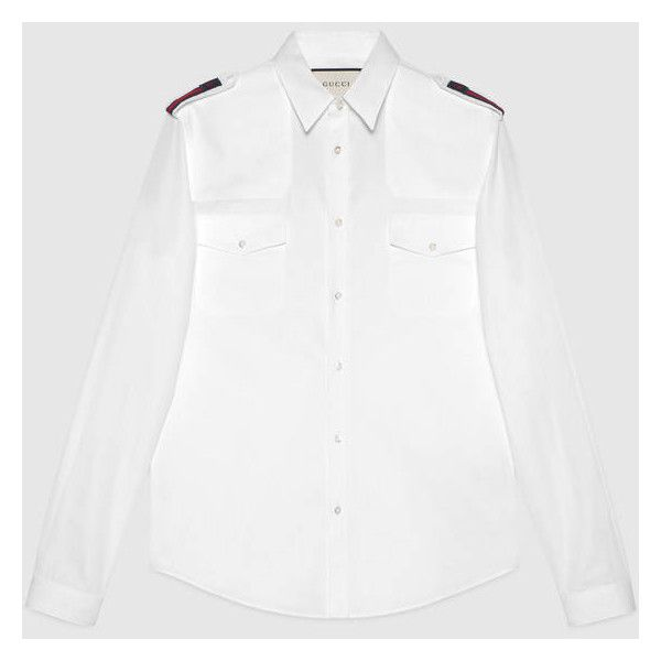 Gucci Cotton Duke Shirt With Bee Web ($590) ❤ liked on Polyvore featuring men's fashion, men's clothing, men's shirts, men's casual shirts, mens curved hem t shirt, mens military shirt, mens military style shirt and gucci mens shirts