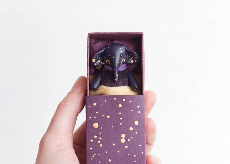 Purple starry elephant toy constellation miniature in a matchbox art tiny pocket poseable clay animal Pet toy for kids BJD, Pukifee, Blythe by UnderUmbrelland on Etsy