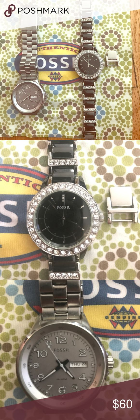Set of 2 Female Fossil Watches- Silver, Black Set of 2 Female Fossil Watches with watch cloth and one Fossil Box. Extra link for black and silver watch. Both Watches need new battery. Rhinestone watch is missing one stone at bottom of face (pictured), all easily replaced as Fossil store. Faces of watch are intact with no cracks or scratches. Fossil Accessories Watches