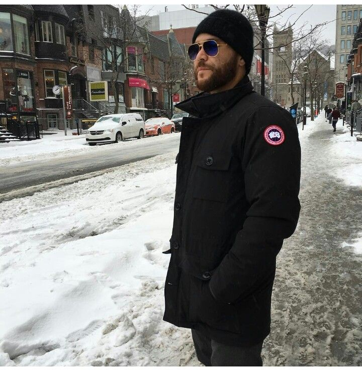Russell Martin staying warm in his grey goose jacket.