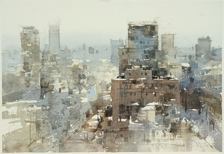 "Chien Chung-Wei. ""The scenery of Osaka"", watercolor plein air 17x24cm."