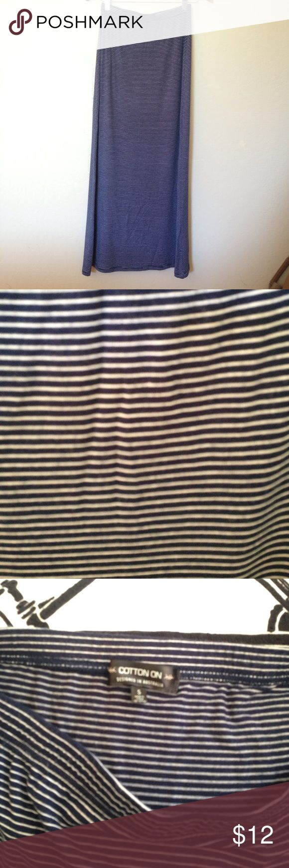 Navy blue & white striped maxi skirt Navy Blue & White cotton jersey maxi skirt from Cotton On. Size S. Super soft. Cotton On Skirts Maxi