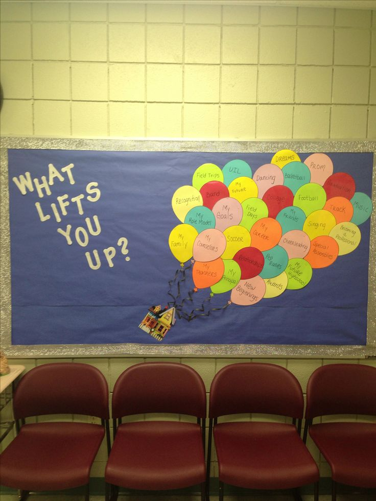 Middle school bulletin board. Theme: Up. Simple and cute. A good way to incorporate the students ideas by asking them what lifts them up?  Some examples that are written in the balloons are: family, teachers, principal, and extra curricular activities.  For the balloons you can print a clip art of a balloon and just print in different colored paper.