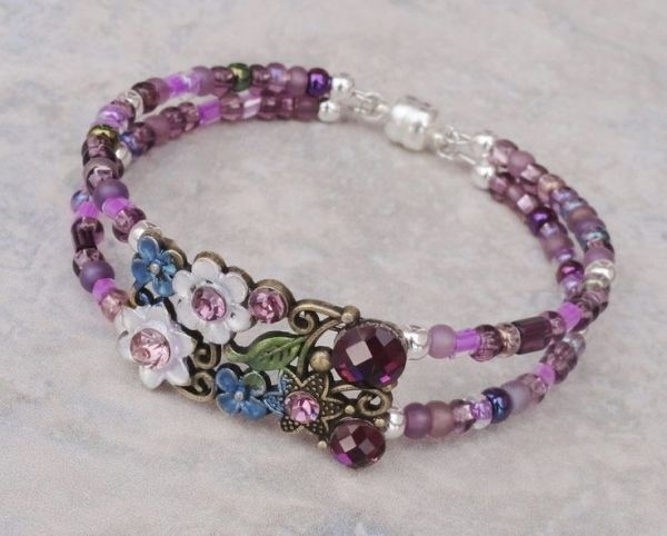 BRACELET Fairy Blossom Purple and Bronze Crystal Memory Wire with Magnetic Clasp - $22.00 - Handmade Jewelry, Crafts and Unique Gifts by Pinx & Lulas by cmyk