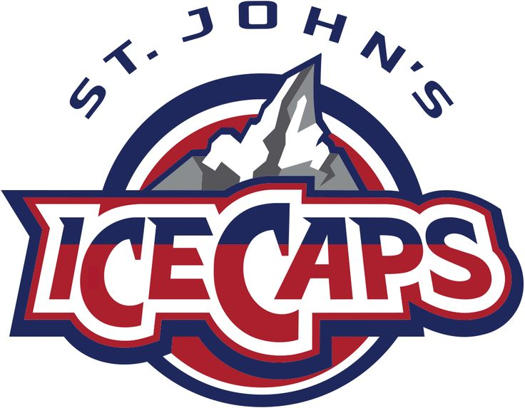 St. Johns IceCaps Primary Logo (2016) - A mountain top capped with ice, the ice is in the shape of a map of Newfoundland and Labrador. Mountain is inside a red, white, and blue circle with ICECAPS written in front and St. John's arched above.