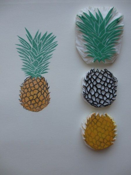 Tampon ananas, exotique / Ananas stamp DIY, exotic