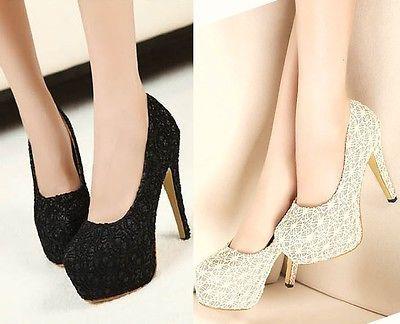 New Vogue Womens Heels lace Pumps Stiletto Platform Shoes