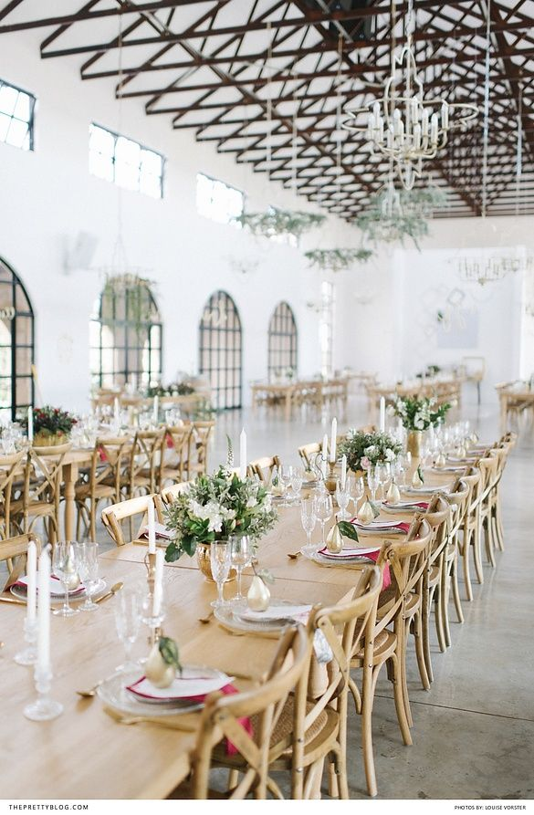 Wedding table with long wooden table and chairs and gold cutlery and center pieces | Venue: Bordeaux Game Farm | Photographers: Louise Vorster Photography | Stationery: Lieflingkind Design | Flowers: Bloom Floral Design |