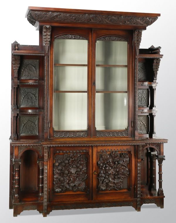 Tour De Force Cincinnati Art Carved Cabinet In The Aesthetic Taste By  William H. Fry (British/American Circa Hand Carved And Chased In Mahogany  And Copper
