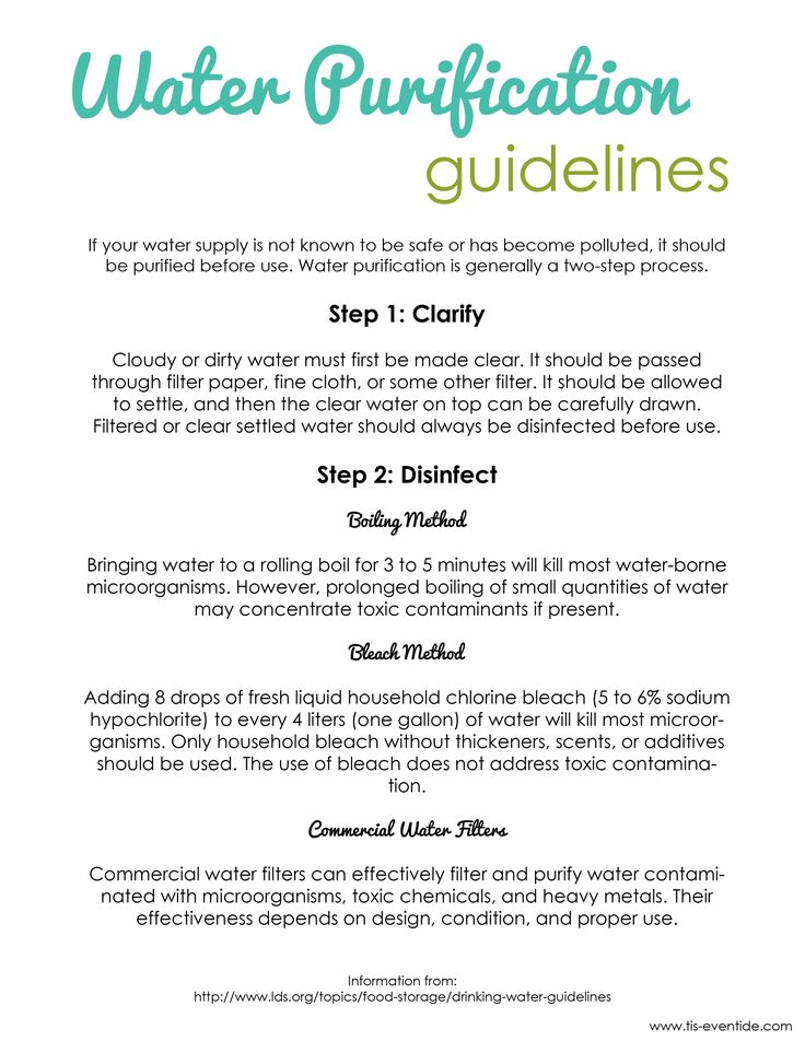 Water purification guidelines printable. Perfect for 72 hour kits!
