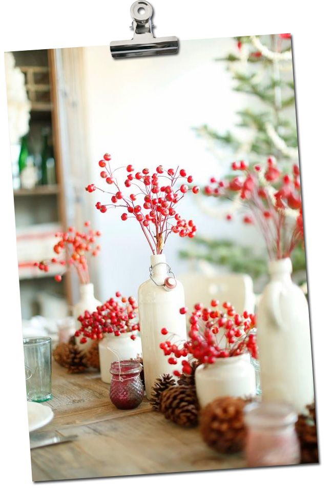 table de noel naturelle avec du houx