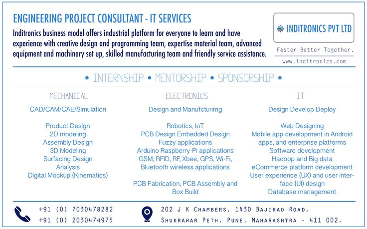 At Inditronics, Build your own Engineering projects. We help you achieve these qualities in your IT strategy by providing you system integration, testing, application development and management services and solutions. #Inditronics #ITServices #ElectronicDesignServices #ElectronicsManufacturingServices #WebsiteDesign #MobileAppDevelopment #SoftwareDevelopment #internship #mentorship #sponsorship