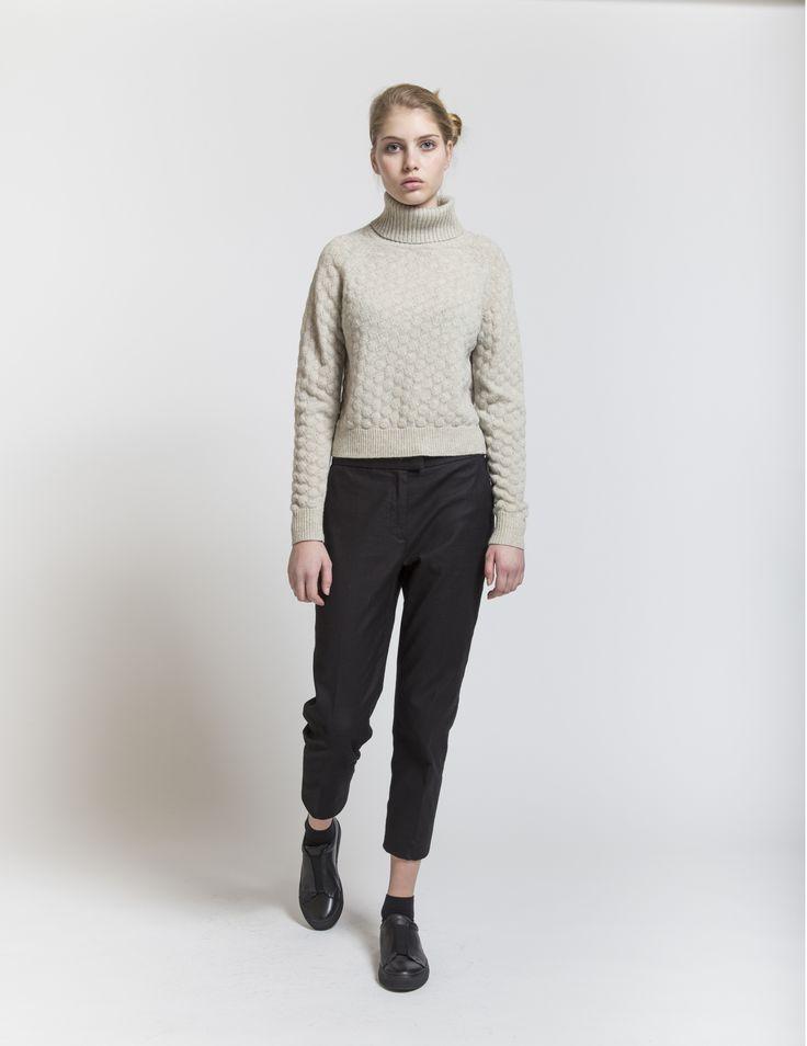 Selhood - womenswear outfit. Lambswool/nylon knit with turtleneck.