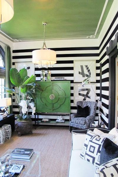 black & white walls, green ceiling