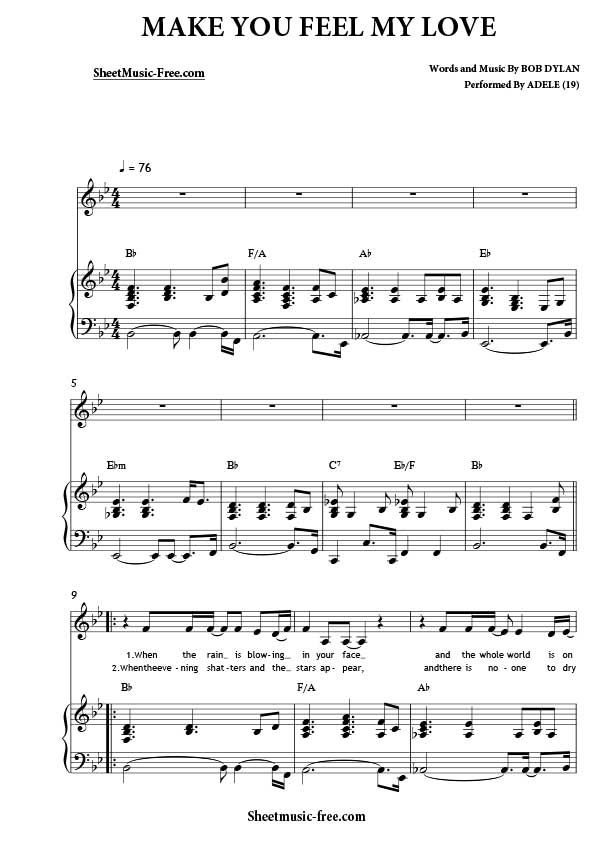 Make You Feel My Love Sheet Music Adele Sheet Music How Are You
