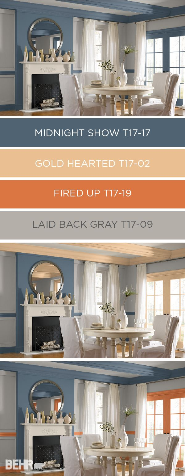This elegant dining room uses the versatile colors from BEHR's collection of 2017 Color Currents in new and interesting ways. Experiment with the deep blue-gray hue of Midnight Show when paired with lighter neutral colors like Gold Hearted and Laid Back Gray. You can even use the ColorSmart tool to preview a color scheme before you start painting.
