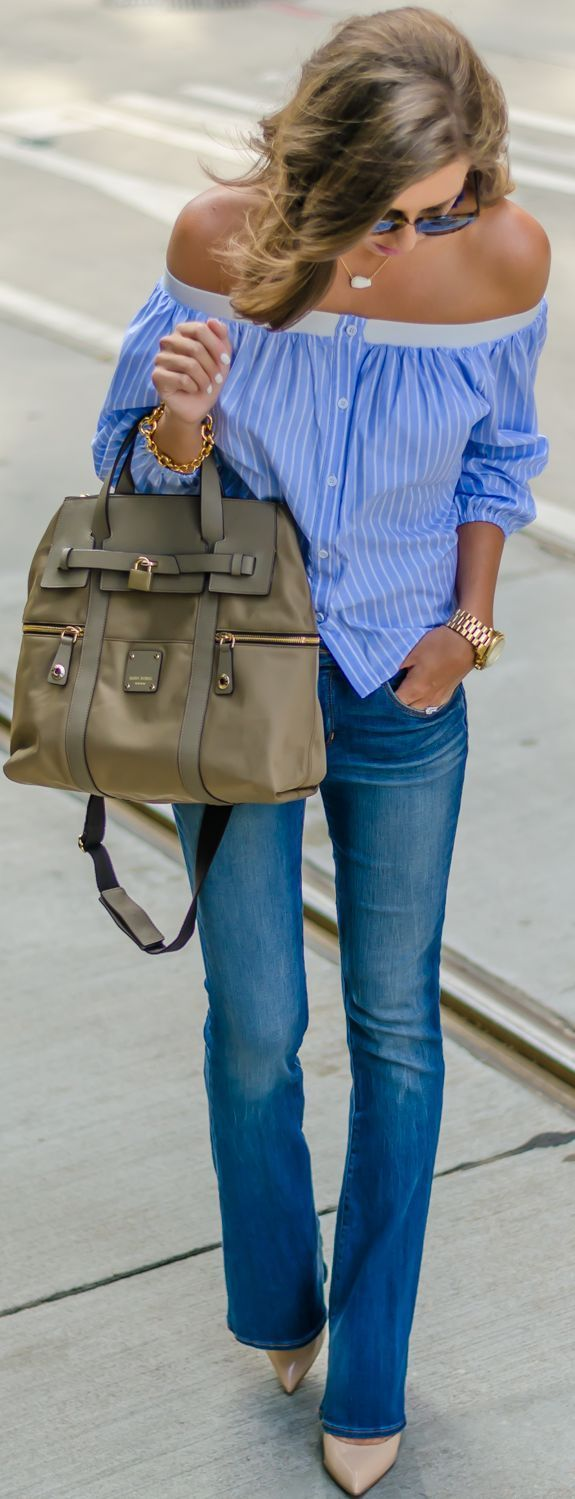 Flared Jeans Striped Off The Shoulder with a large taupe handbag and pretty gold jewelry