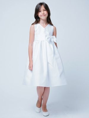 White V-Neck Poly Dupioni Dress w/ Bow Same, Harper liked this one