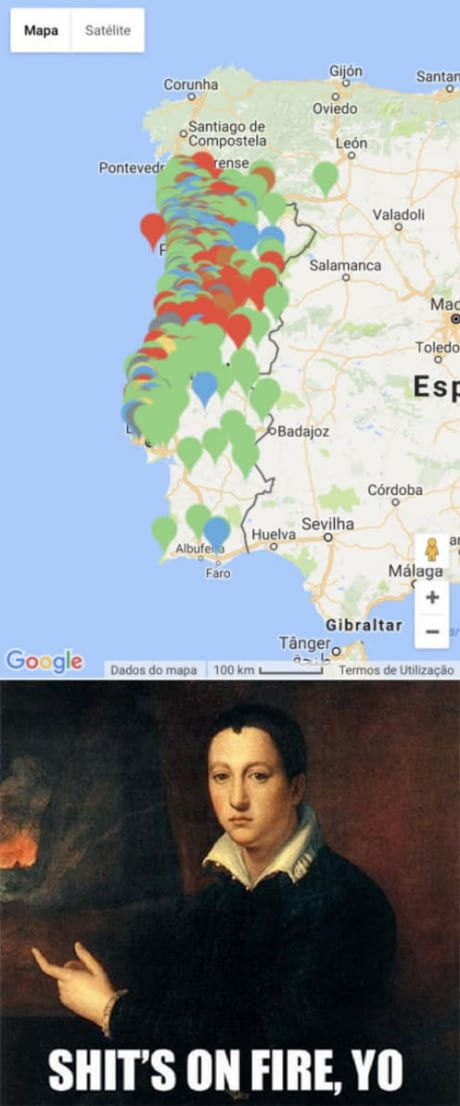 Every point in the map is an on going fire in Portugal