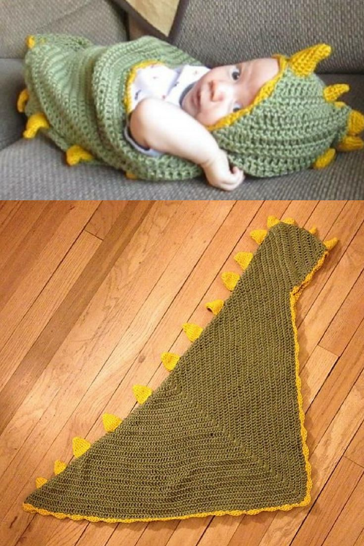 [Free Pattern] Comfort Your Baby With This Adorable Dino Baby Hooded Blanket