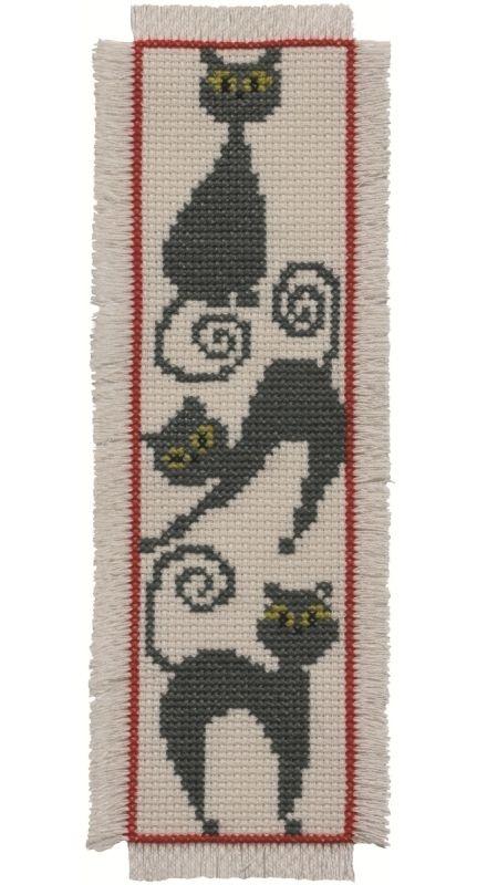 ARM _ Patrón o molde - Marca páginas. Técnica: punto de cruz//// Cat Bookmark: Cross stitch (Permin, 05-2103)