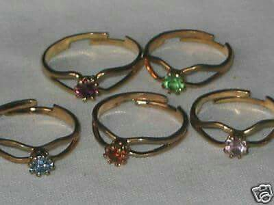 Birthstone rings - remember my own, plus I bought thousands of these as a buyer! lol.