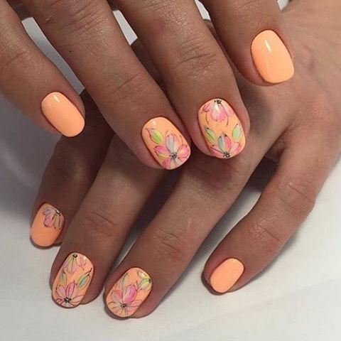 Идеи маникюра с цветами, Маникюр май 2016, Маникюр под оранжевое платье, Маникюр с цветами, Оранжевые ногти, Оранжевый гель лак, Оранжевый маникюр, Оранжевый шеллак