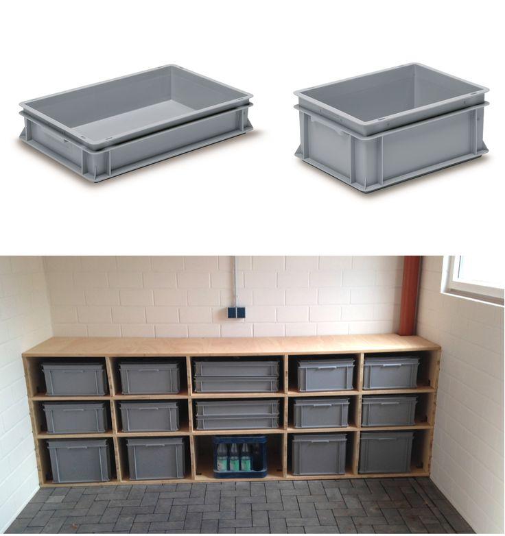 Ordnung schaffen - RAKO Behälter aus Kunstoff in verschiedenen Größen im individuellen Holzregal. Praktisch für die Garage oder den Hobbykeller.
