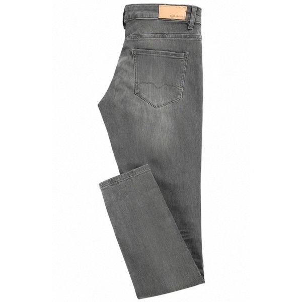 Slim-Fit Jeans aus gewaschenem Stretch-Denim in Used-Optik ($120) ❤ liked on Polyvore featuring jeans, slim cut jeans, slim jeans, slim fit jeans, stretch denim jeans and slim leg jeans