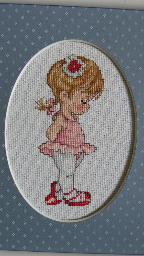 Framed JOAN MARCHIE Simplicity Cross Stitch MISSY Ballerina Ballet Dancer JCA