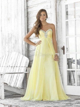 A-line Sweetheart Floor-length Chiffon Yellow Prom Dress With Beading at Msdressy