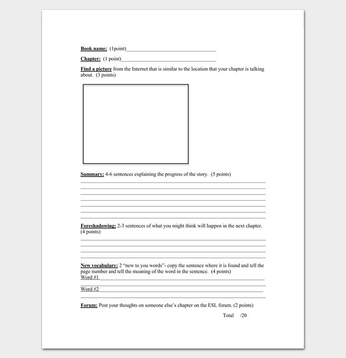 Blank Chapter Outline Template