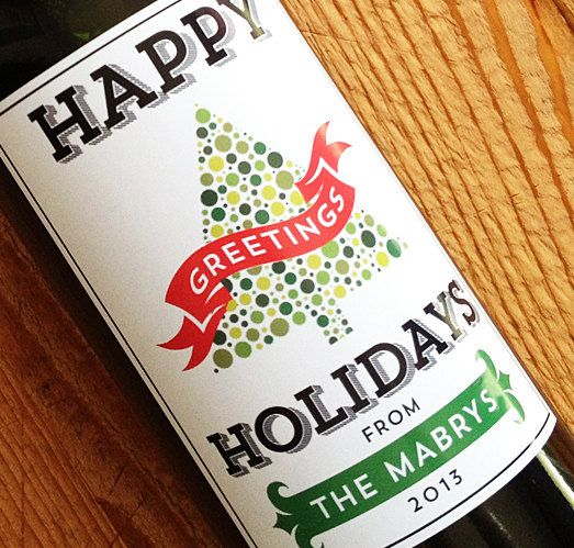 Christmas Wine Label or  Holiday Stickers Personalized with your name, Set of 18