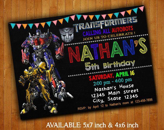 Transformadores invitaciones / invitación de la fiesta de cumpleaños Transformers / Transformers Digital archivo imprimible