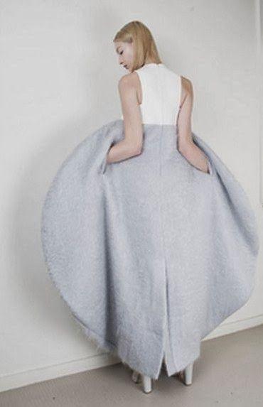 Soft Geometric Fashion - sculptural cocoon dress with 3D circular silhouette - shape & volume; wearable art // Min Kim