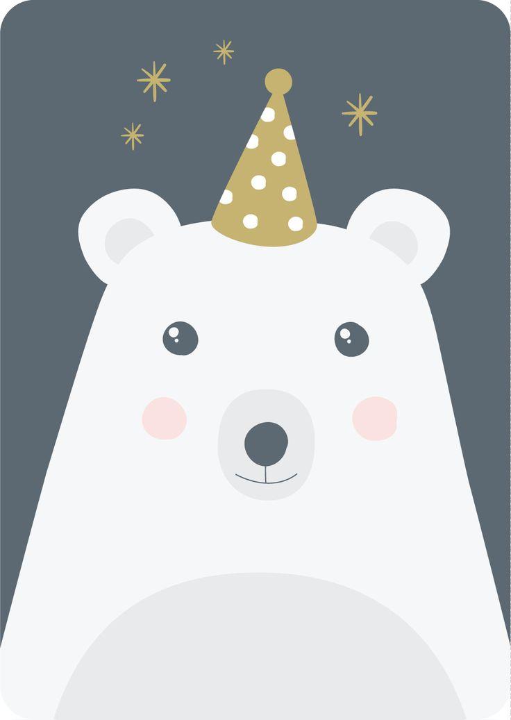 Carte d'invitation pour anniversaire Joli Ours par Albert Papeterie
