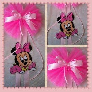 Fiocco nascita con baby Minnie rosa
