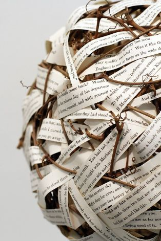"""Poetry - Woven Words"", a piece by Lynne Bergherm, in The Altered Book Book Arts Show at the Marin Museum of Contemporary Art in Novato, Calif., Thursday, April 19, 2012.  The show features 150 works all created from books.  All of the pieces will be auctioned off to raise money for the museum. Photo: Sarah Rice, Special To The Chronicle / SF"