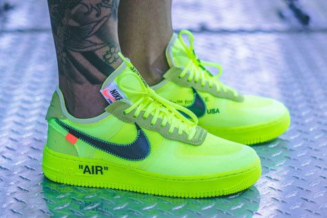 2018 Off White X Nike Air Force 1 Black & Fluorescent green and Air Max 90 Black First Look On Feet
