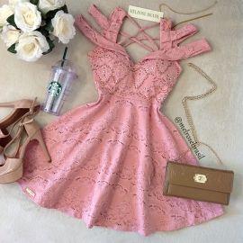 Vestido LAURA Jacquard Premium C/ BOJO( COR ROSÊ)
