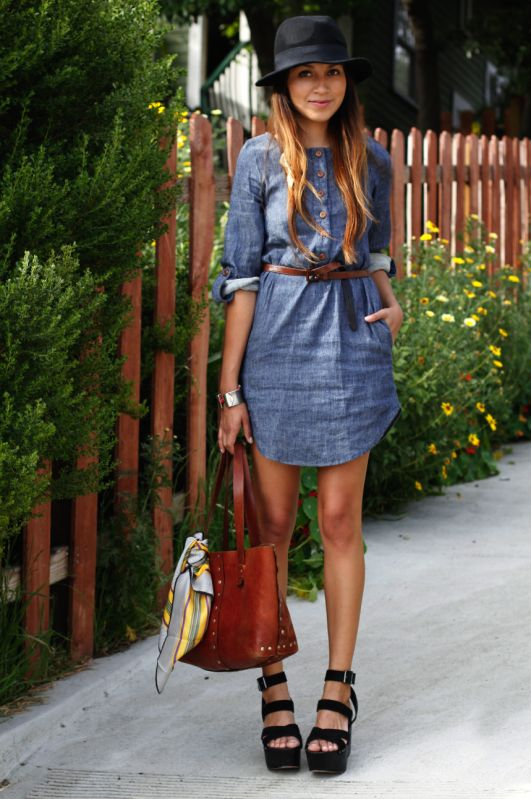 d978e7020f2 Love the chambray dress. Don't like the shoes. Too high for me! | my style  in 2019 | Fashion, Style, Outfits