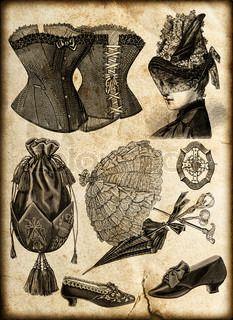 Vintage Mode-Accessoires für viktorianische Dame: Corsage, Schuhe, Tasche, Schirm, Schmuck, Hut | Stock-Foto | Colourbox on Colourbox