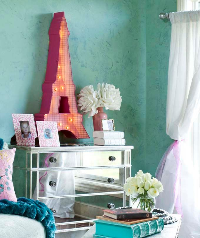 Tracy Rivers : House of Turquoise: Wall Colors, Mirror Chest, Decor Ideas, Eiffel Towers, Mirror Furniture, Dreams Rooms, Mirror Dressers, Girls Rooms, Kids Rooms