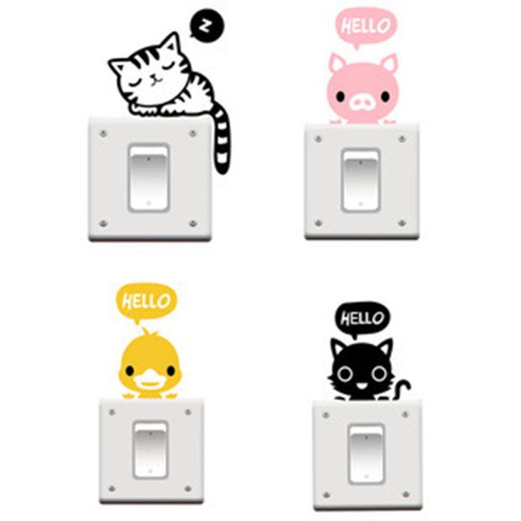 Encontrar Más Pegatinas de Pared Información acerca de Envío gratis G5123PVC interruptor extraíble pegatinas de dibujos animados lindos gatitos generación etiquetas engomadas del interruptor, alta calidad etiqueta de la producción, China pegatinas rectángulo Proveedores, barato interruptor de marinos de Momo Dream en Aliexpress.com