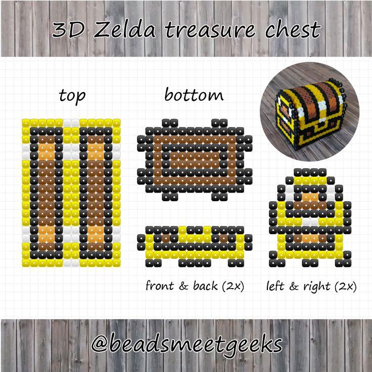 3D Zelda treasure chest made with Perler Beads pattern - Beadsmeetgeeks